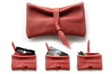 Load image into Gallery viewer, Camy Phone case, eyeglasses holder, pencil case made of italian leather, red