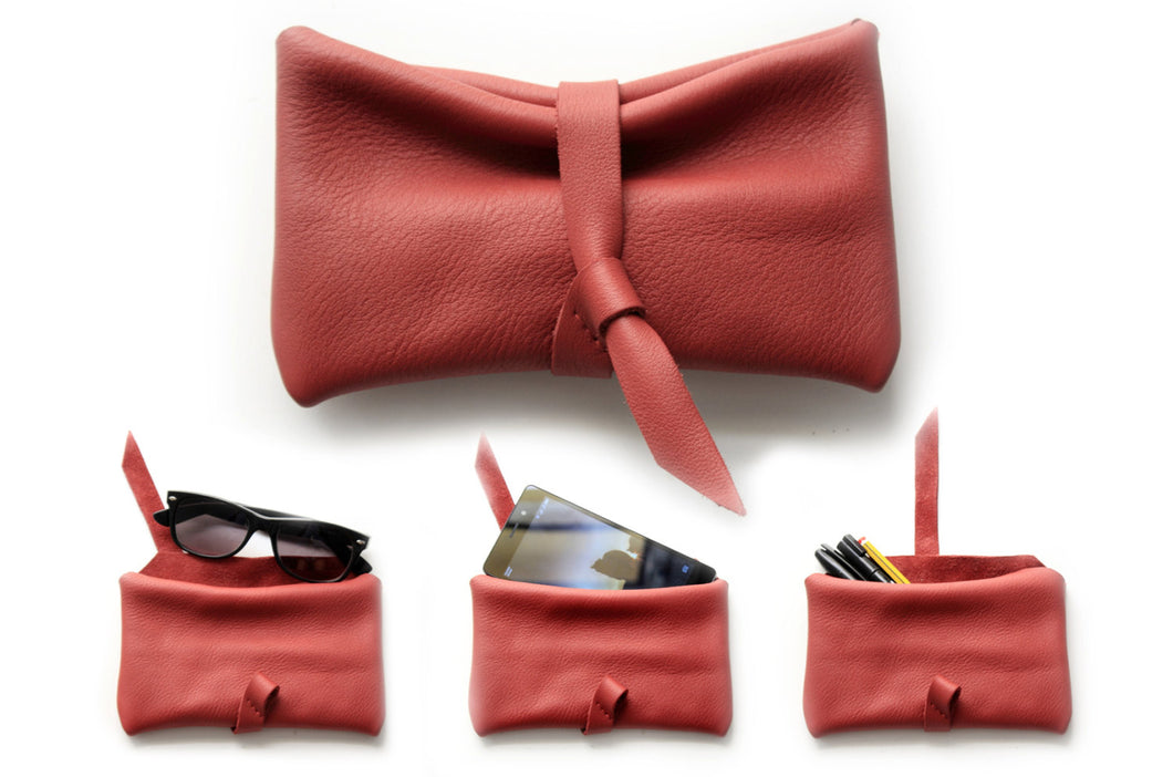 Stocking stuffer, Phone case, little pouch, eyeglasses holder, pencil case, phone case made of italian leather, red. Camy, little pouch.