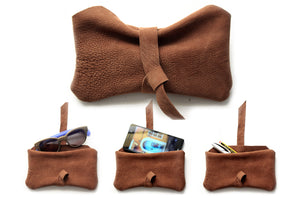Stocking stuffer, Phone case, Little pouch, eyeglasses holder, pencil case, phone case made of italian leather, brown. Camy, little pouch.