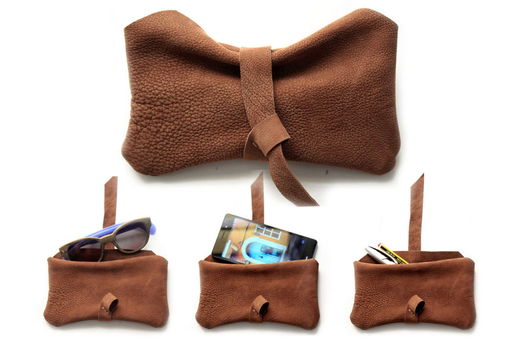Camy pouch, Phone case, Little pouch, eyeglasses holder, pencil case made of italian leather, brown