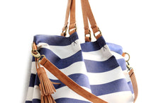 Load image into Gallery viewer, Susy Canvas and leather shoulder bag, striped blue. Susy shoulder bag