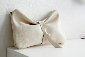 Leather clutch bag - Clutch CRIS, very soft leather / nappa bag beige, red or black leather