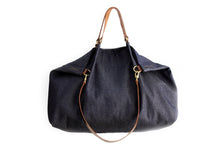 Load image into Gallery viewer, Weekend BAG, denim and leather bag, blue. Personalized with name