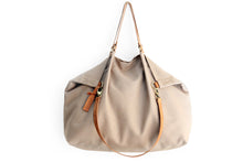 Load image into Gallery viewer, Weekend bag, canvas and leather bag, light brown. Personalized with name.