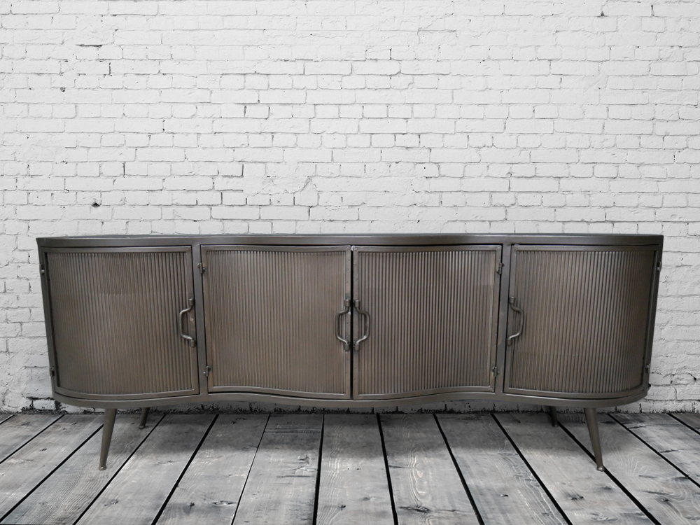 Industrial retro ribbed metal cabinet