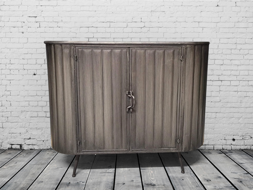 Metal and wood industrial cabinet