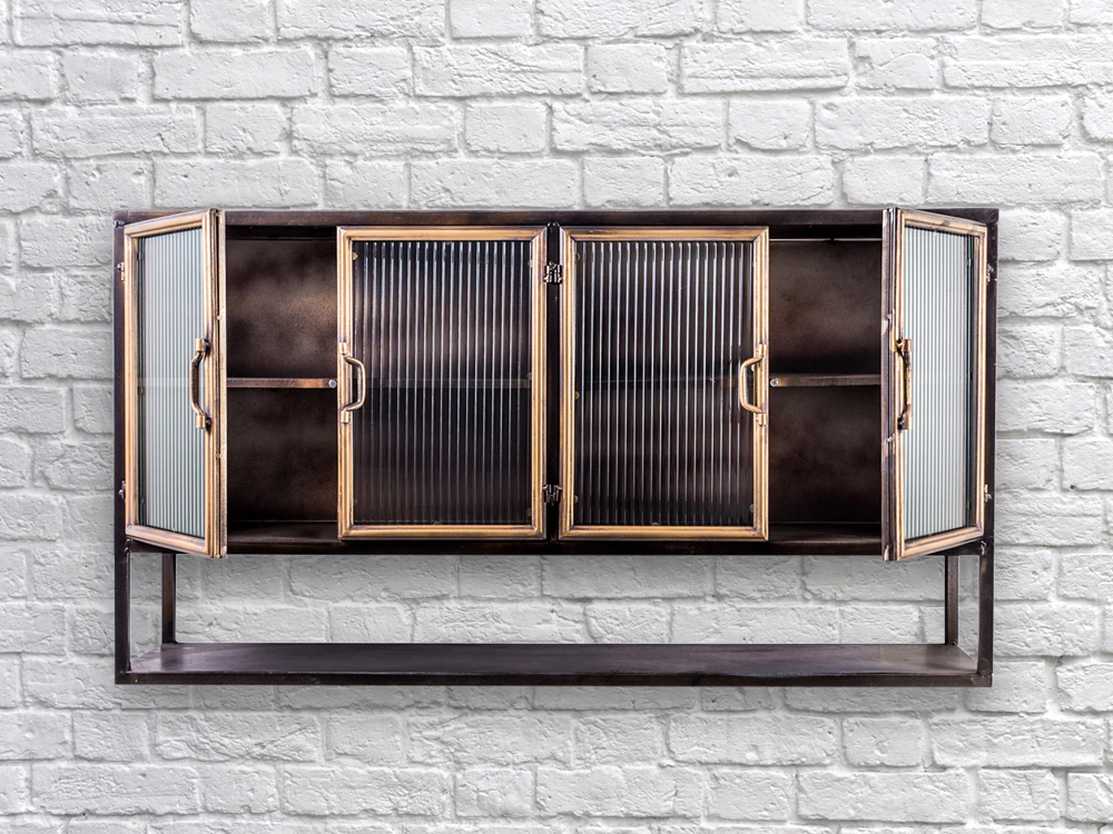 Round Ribbed Glass Retro Industrial Wall Cabinet