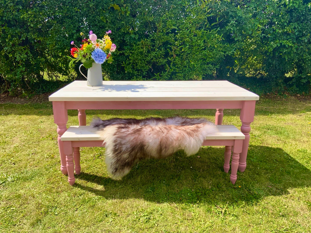 Nordic pink farmhouse dining table set