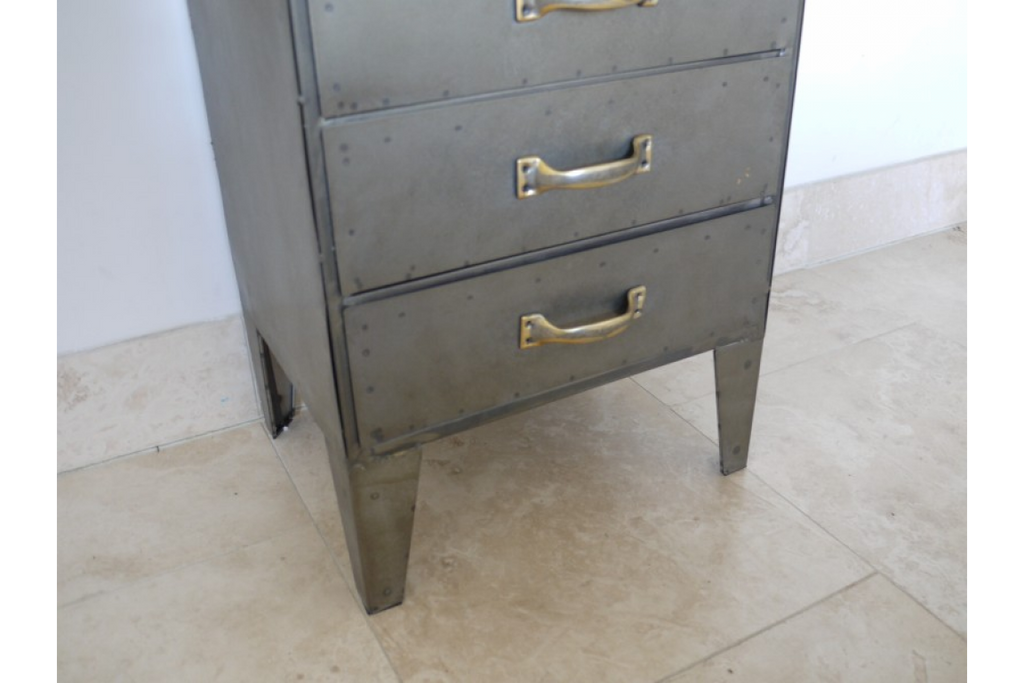 Tall Industrial Steel Bank of 10 drawers - storage cabinet.