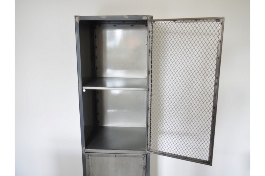Tall Metal mesh fronted industrial locker.