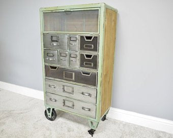 Green metal industrial multi drawer storage cabinet
