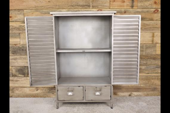 Brushed metal industrial cabinet.