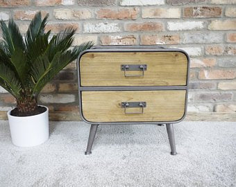 Small Metal & Wood Cabinet - bedside cabinet.