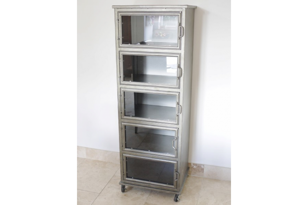Tall glass fronted steel  storage drawer cabinet.