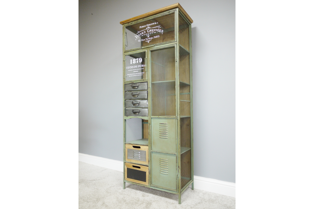 Tall Green Metal Industrial multi drawer storage cabinet.