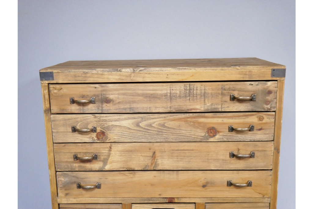 Tall Vintage Wooden Multi Bank of Drawers.
