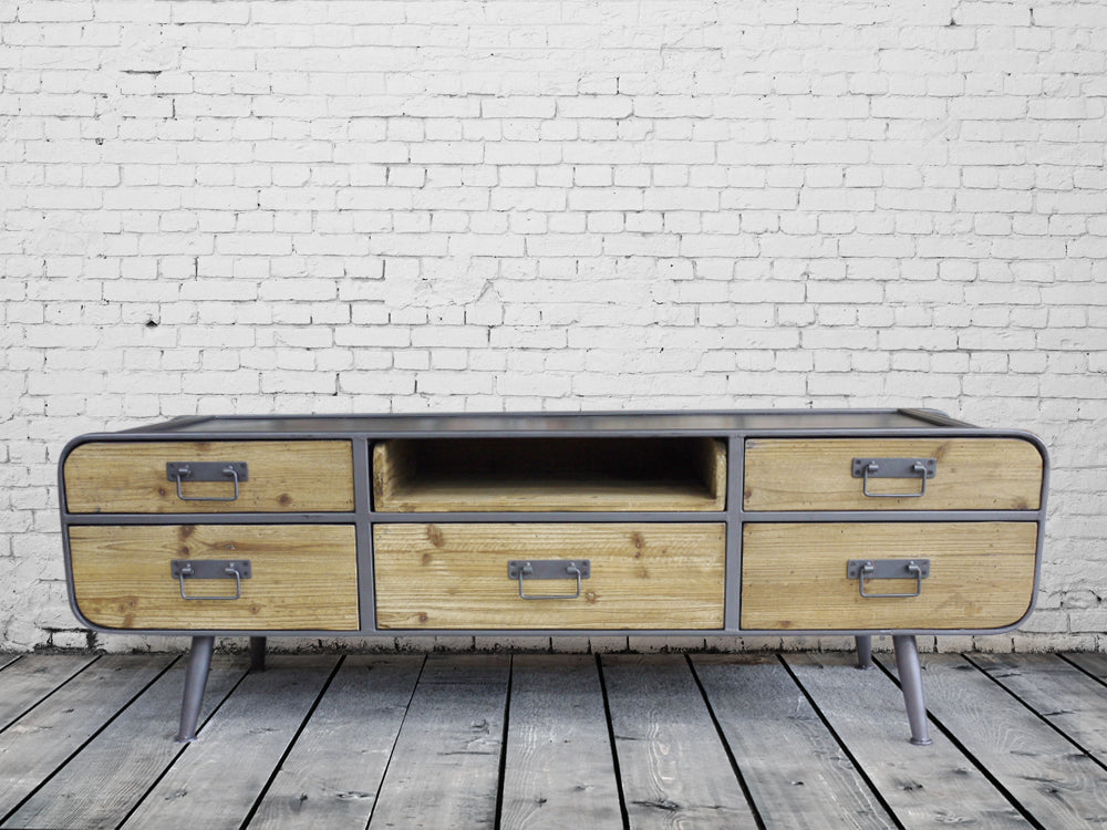 Gun metal grey and wood low slung industrial cabinet.