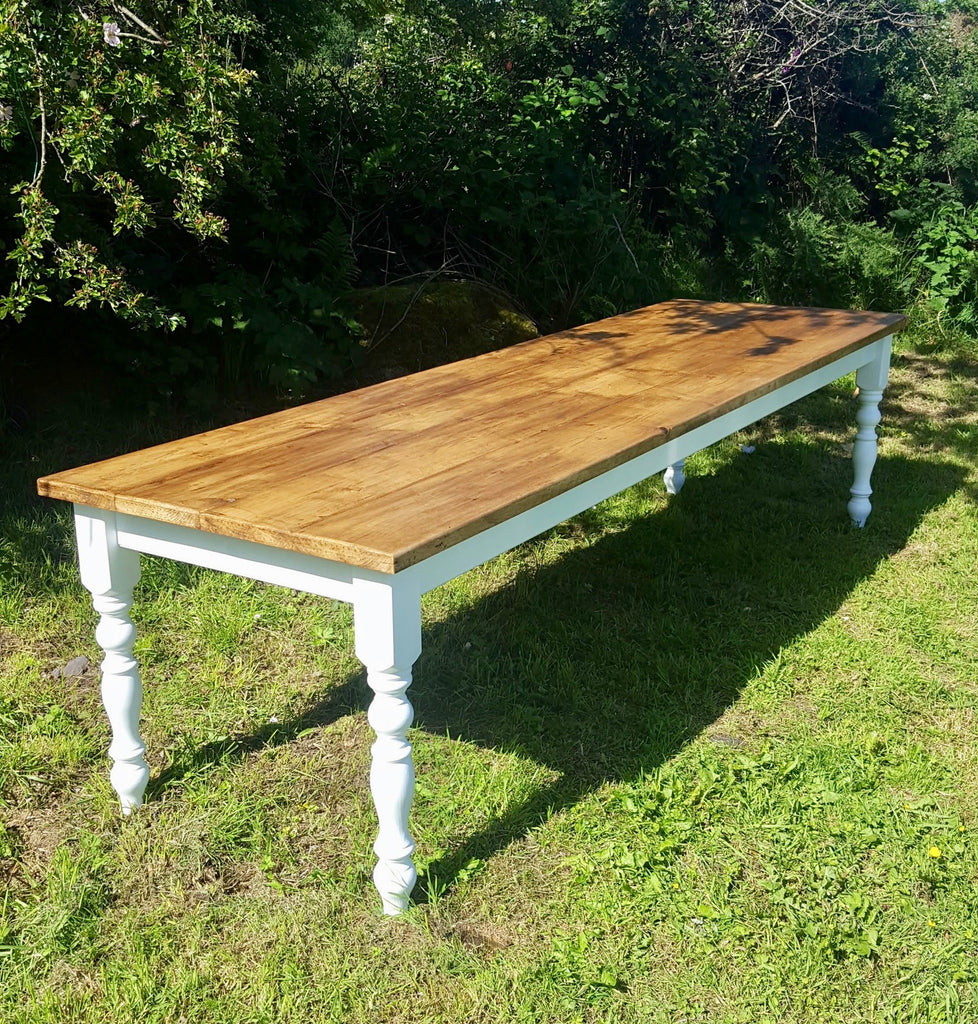9 Ft New Solid Pine Farmhouse Dining Table. Seats 10 to 12. Farrow & Ball Colour & Size Choice.