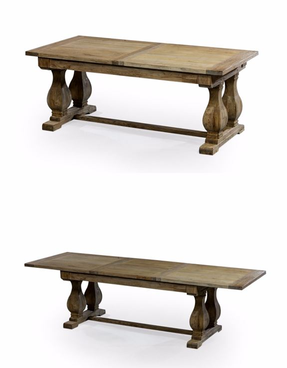 Large extending solid reclaimed elm rectangular dining table.