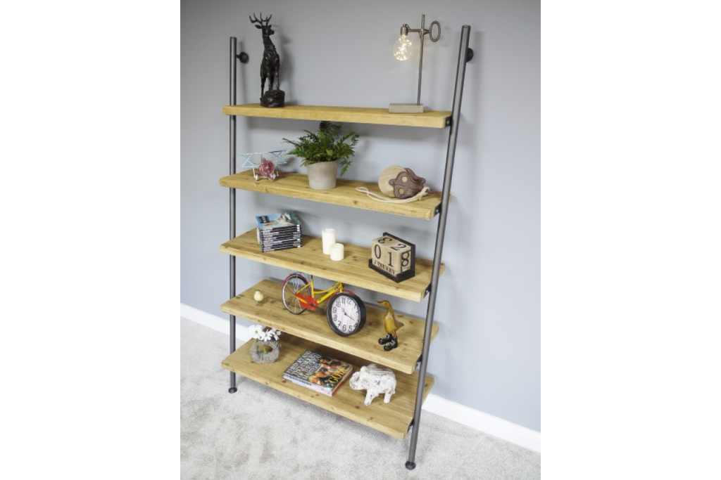 Tall Steel pipe & wood industrial ladder shelving unit.