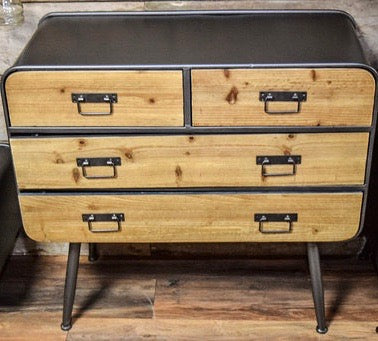 Industrial metal & wood retro chest of drawers.