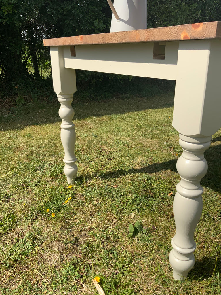 Bespoke Extendable solid pine painted farmhouse table.