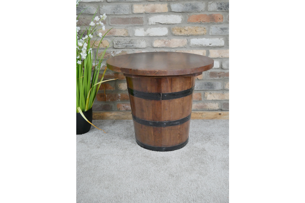 Reclaimed wood storage barrel side/coffee table
