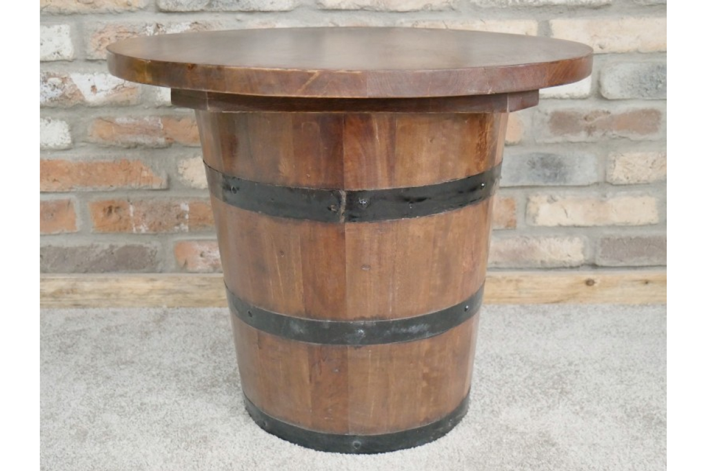 Reclaimed wood storage barrel coffee table