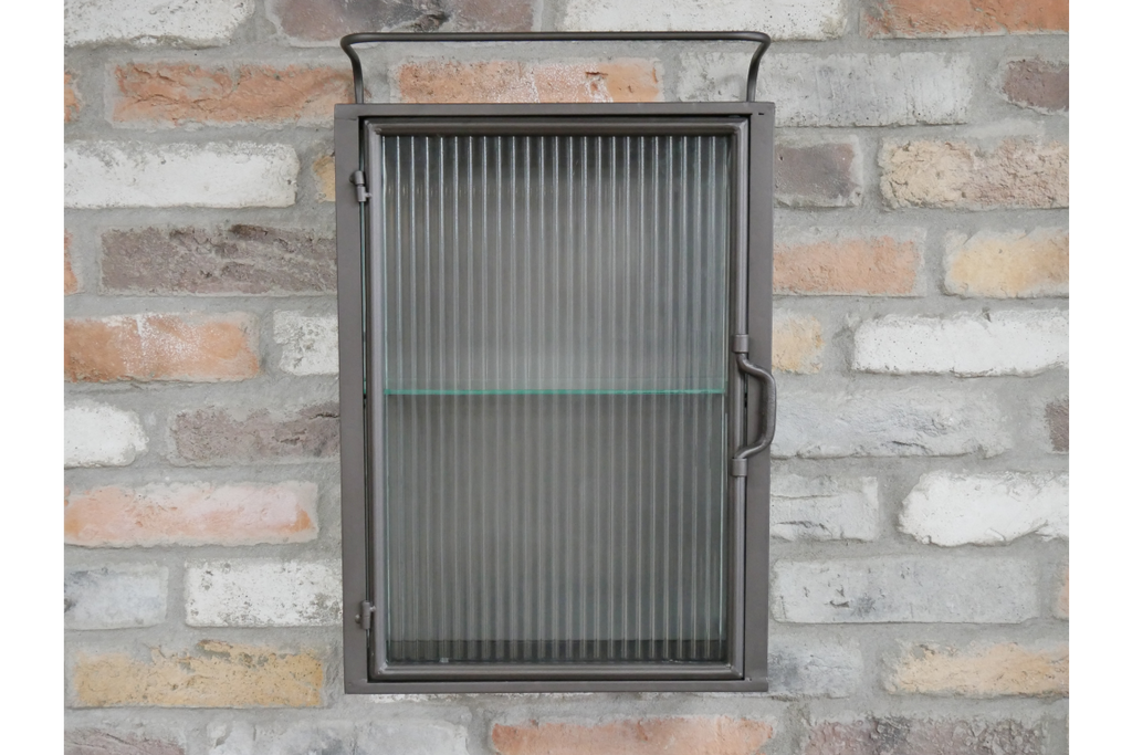 Fluted glass industrial wall cabinet