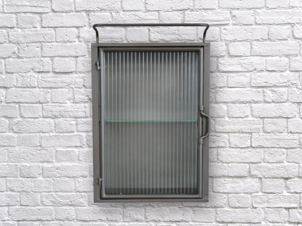 fluted ribbed glass metal wall cabinet