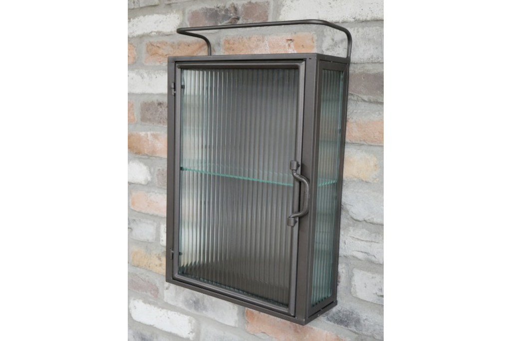 Fluted ribbed glass & metal industrial wall storage cabinet.
