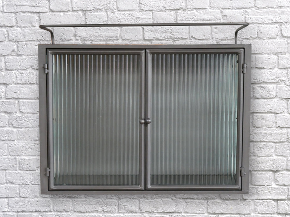 Metal & fluted ribbed glass industrial retro wall storage cabinet.