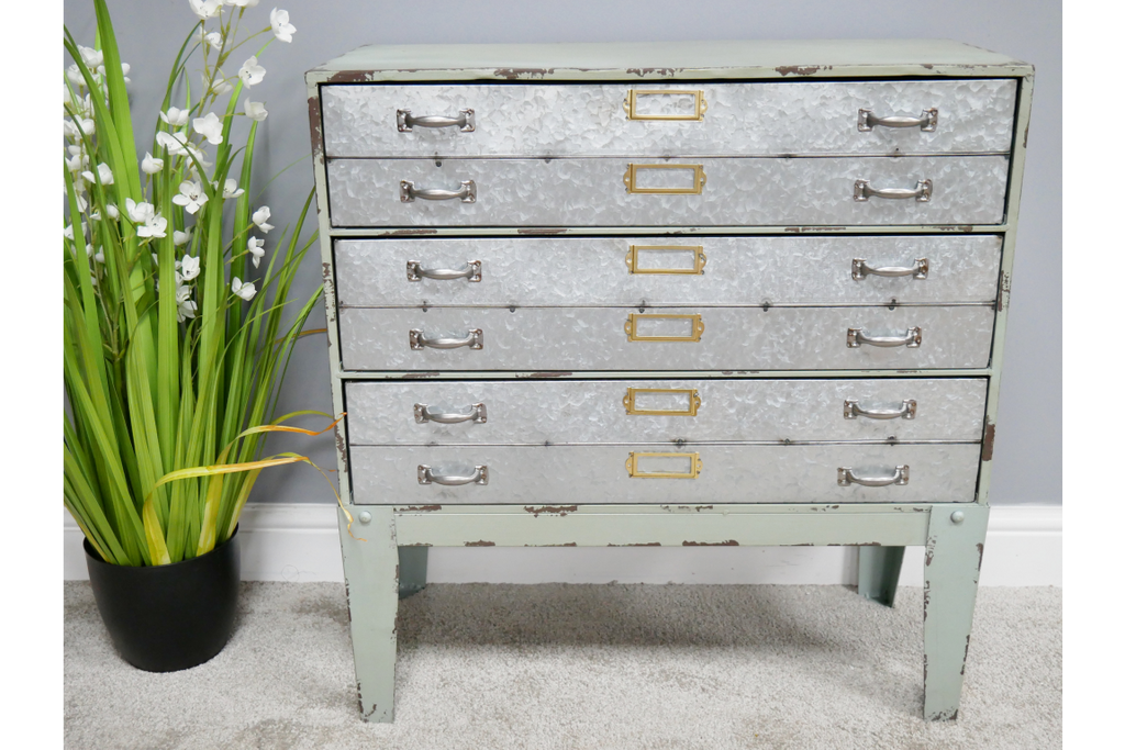 Green painted industrial metal chest of drawers