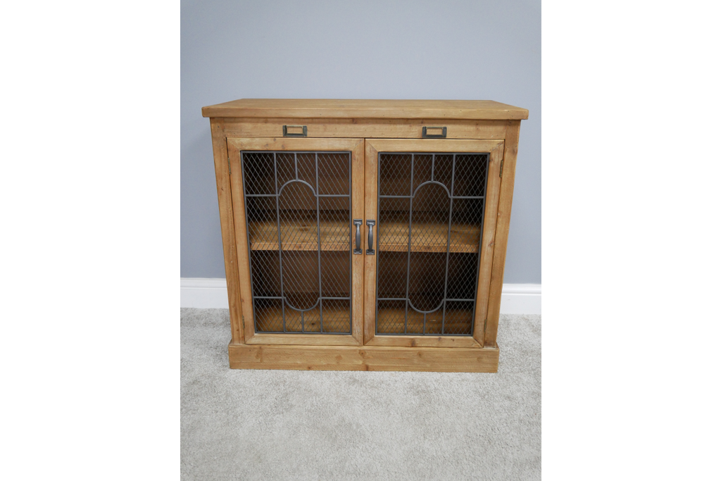Rustic wood & mesh fronted storage cabinet