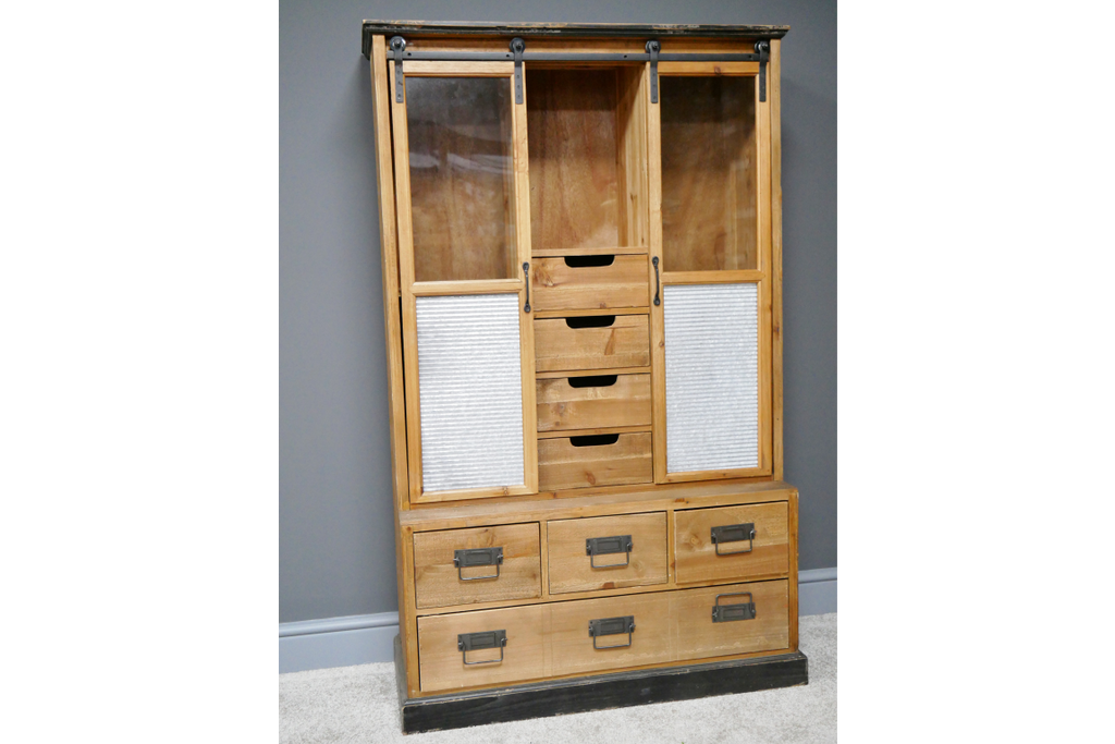 Large glass fronted rustic industrial display storage cabinet