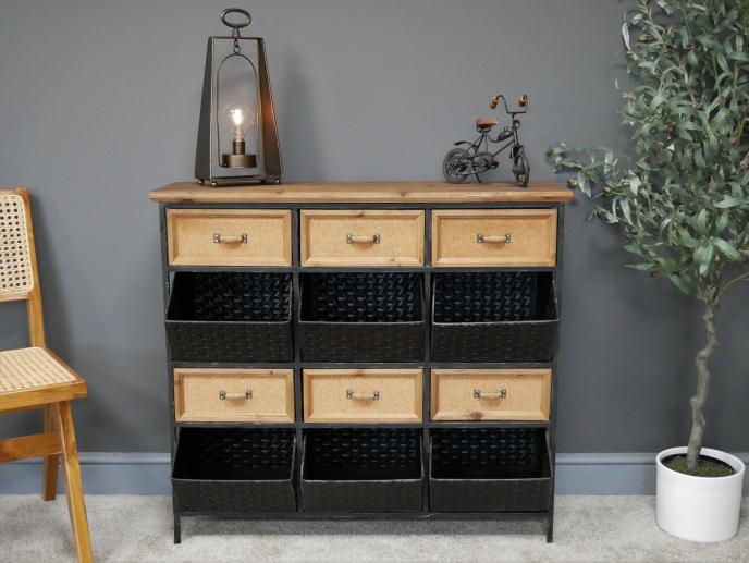 Metal & Wood Topped Storage Cabinet