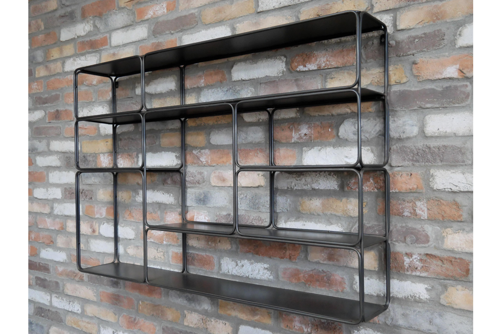 Industrial metal wall shelving unit