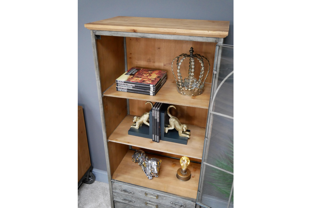 Large glass fronted industrial display storage cabinet