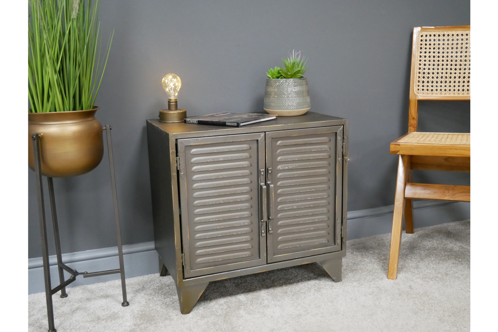 Gun metal grey industrial storage cabinet.
