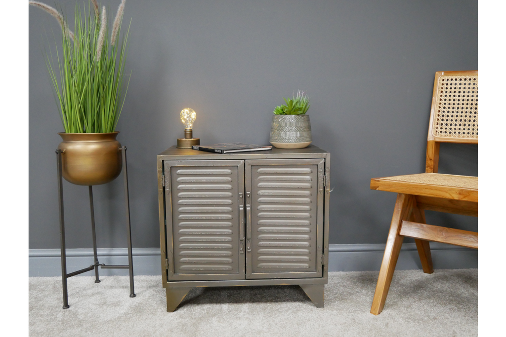 Gun metal grey industrial storage cabinet