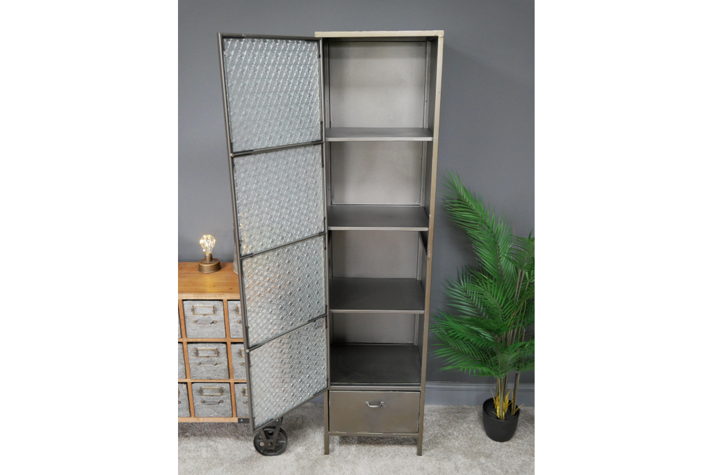 Tall metal industrial retro storage locker cabinet