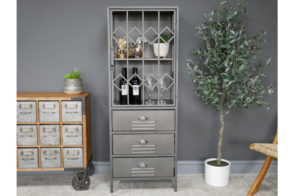 Tall Industrial metal storage display cabinet