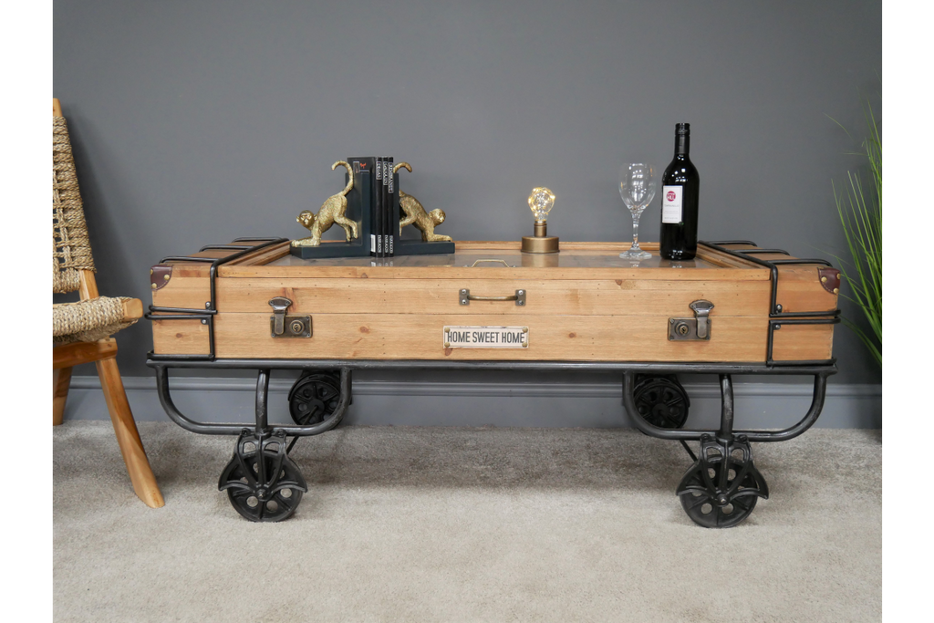 Industrial retro coffee table on wheels