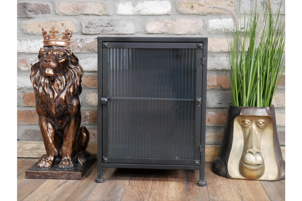 Metal & fluted ribbed glass industrial retro small storage cabinet.