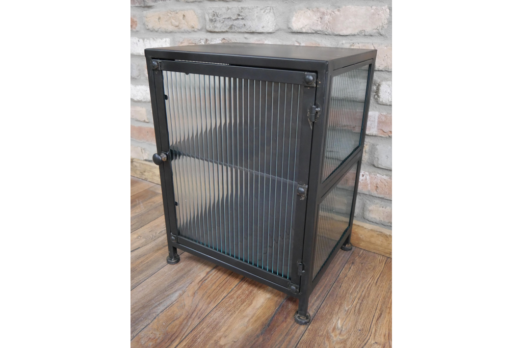 Metal & fluted ribbed glass industrial small storage cabinet.