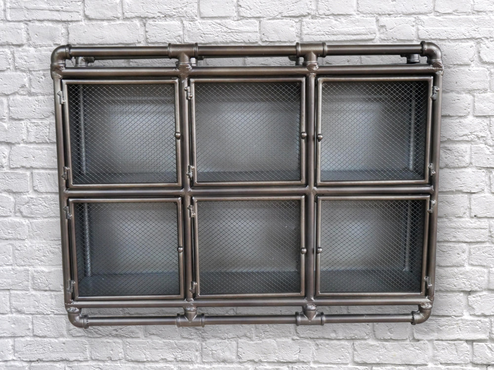 Rectangular mesh fronted Industrial retro metal wall cabinet.