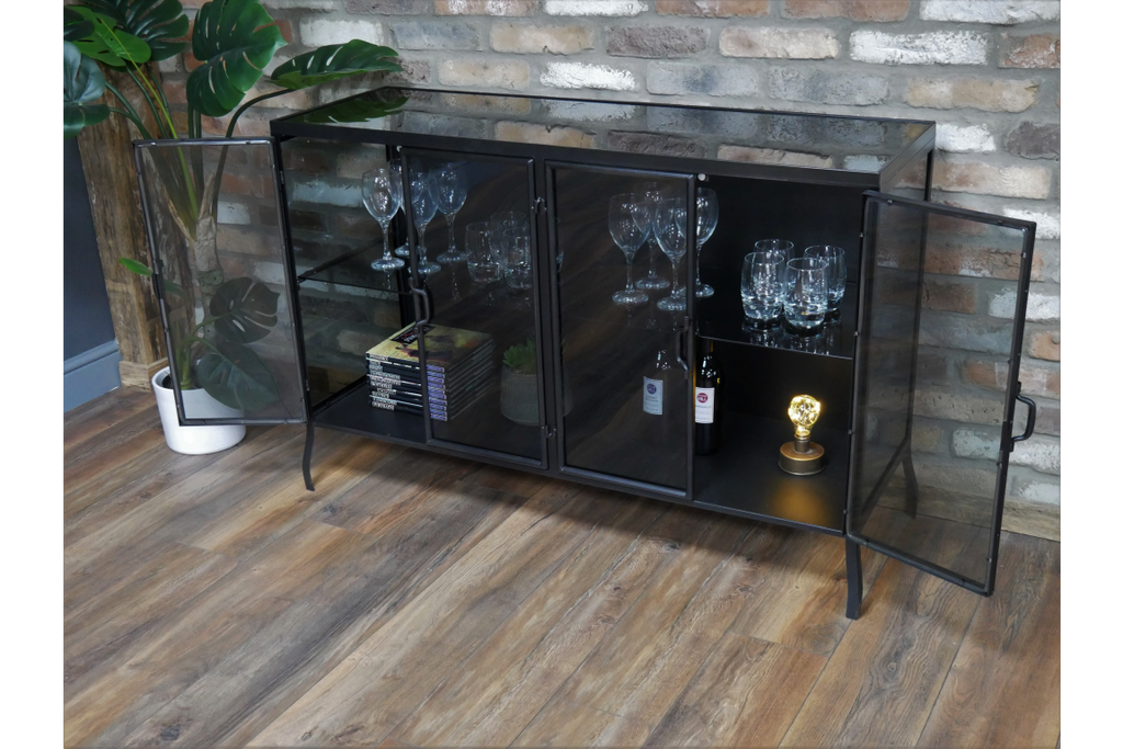 Black glass & metal industrial display cabinet/sideboard