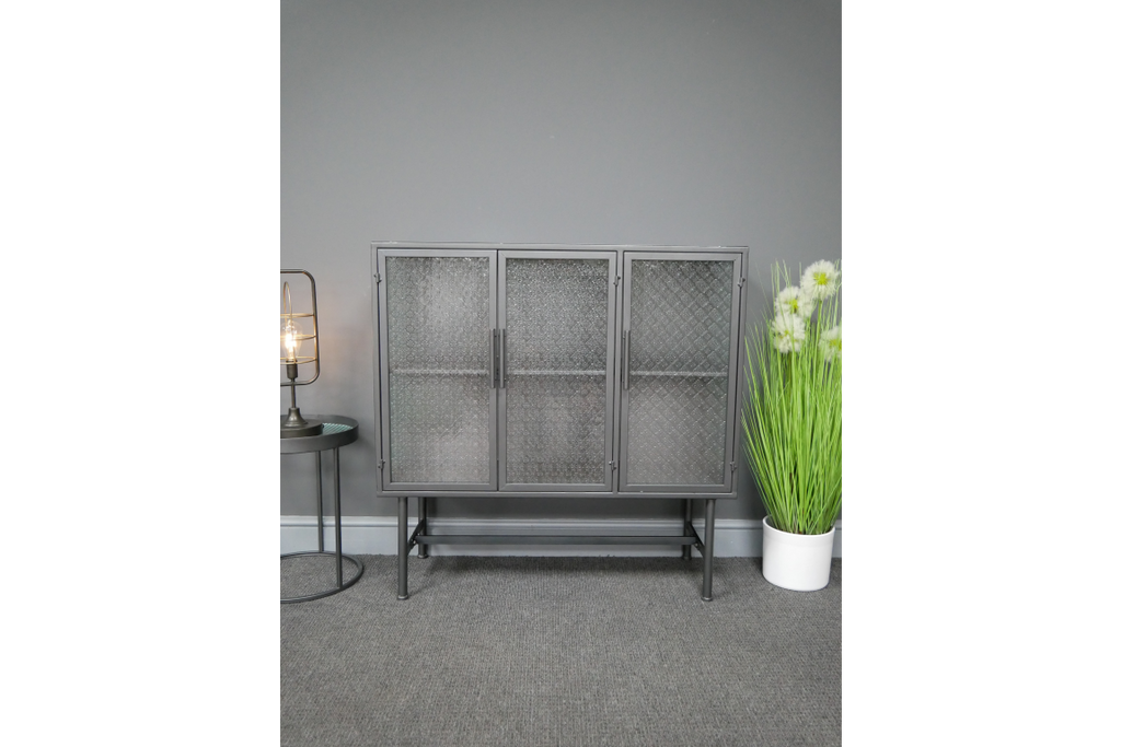 Large Industrial retro patterned glass cabinet.