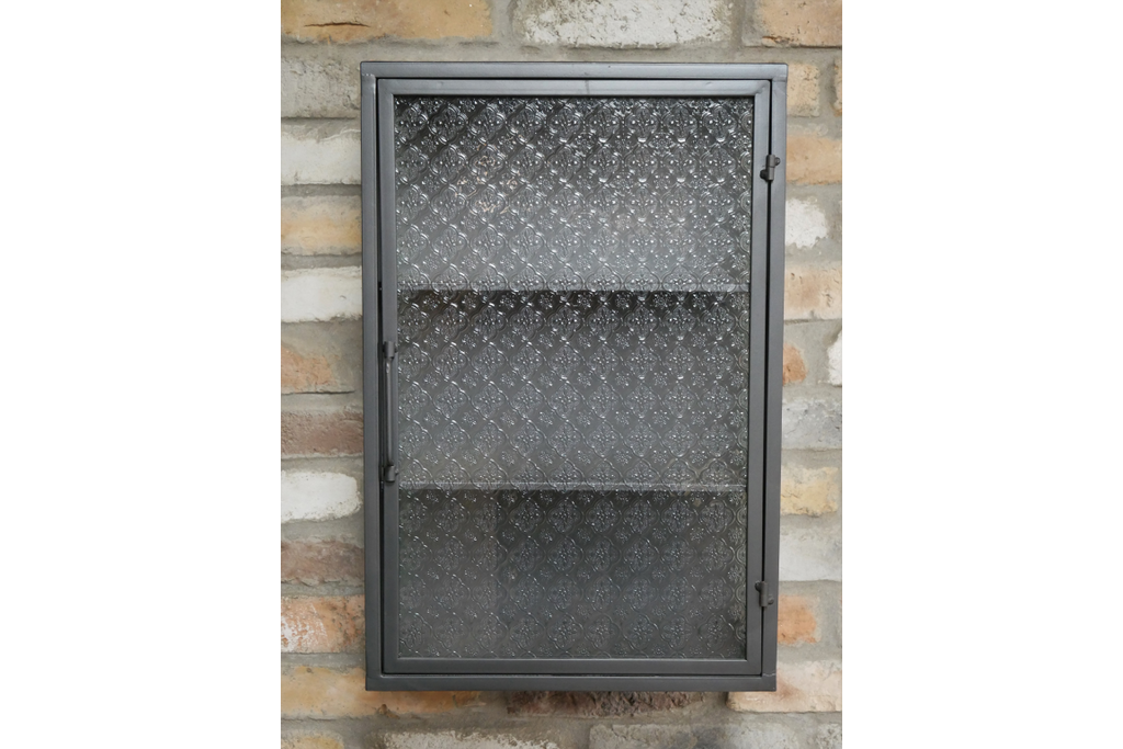 Metal & decorative glass industrial retro wall storage cabinet.