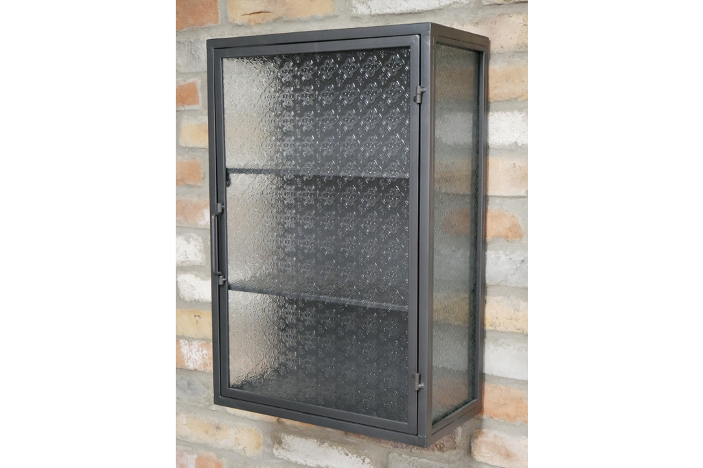 Metal & decorative glass industrial wall storage cabinet.